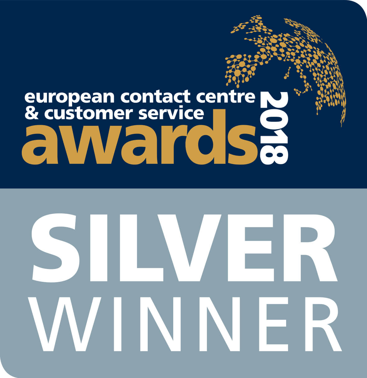 European Contact Centre & Customer Service Award 2018 - Silver Winner