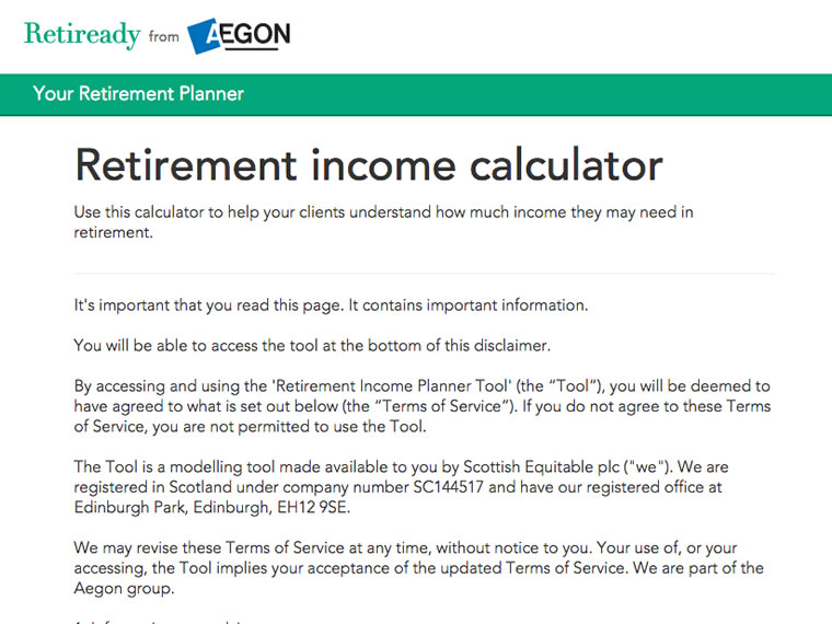 Retirement income calculator page on Retiready