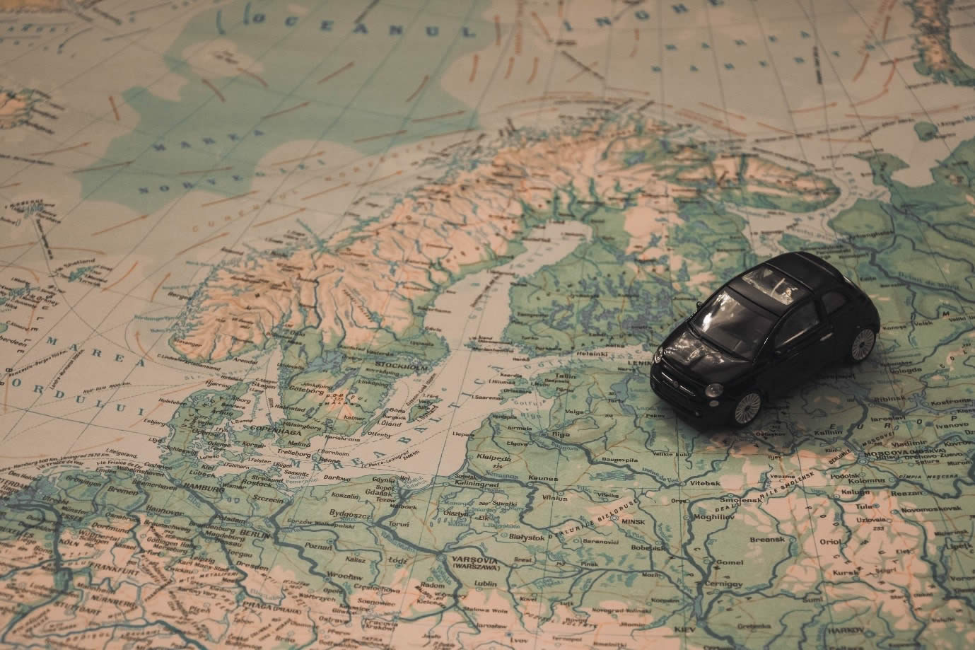 Map of Europe with toy car