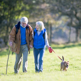 Couple walking dog across field